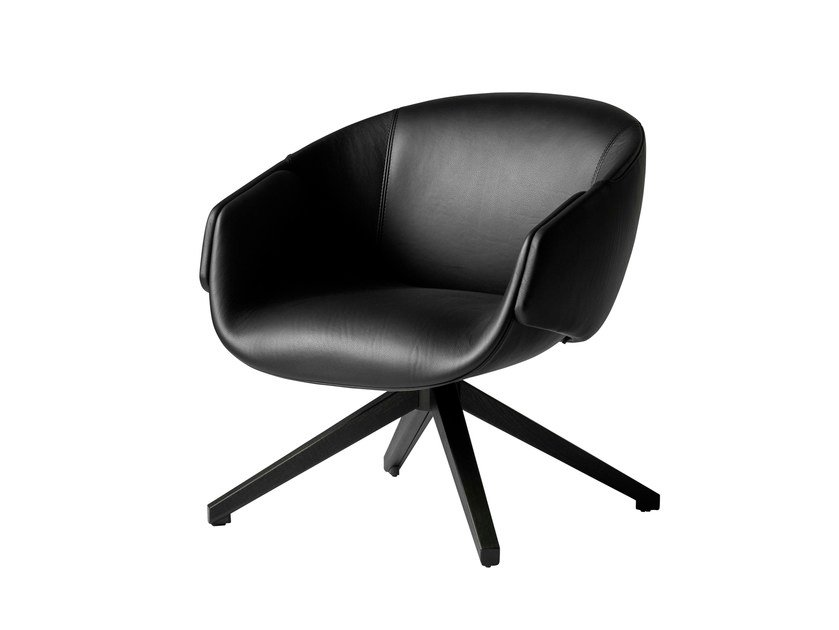 Swivel leather armchair with armrests ANITA | Leather armchair by SP01
