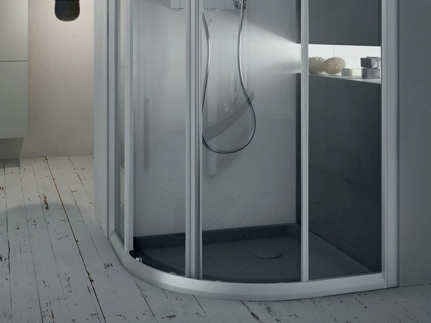 Box doccia angolare semicircolare con porta scorrevole a4 80 x 80