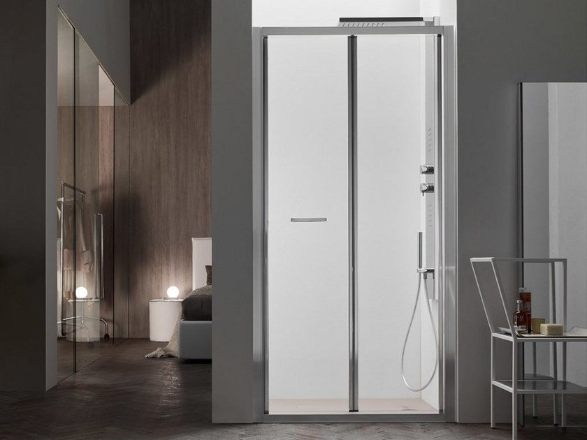 A6   Box doccia con porta a soffietto nicchia soffietto / installazione filo pavimento