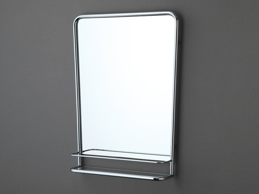Rectangular wall-mounted mirror with wall shelf AB233 | Mirror with wall shelf by BLEU PROVENCE