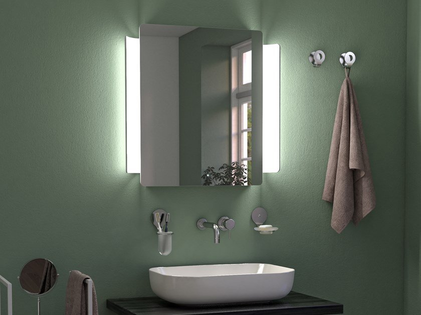 Rectangular wall-mounted mirror with integrated lighting ABBRACCIO LED by KOH-I-NOOR