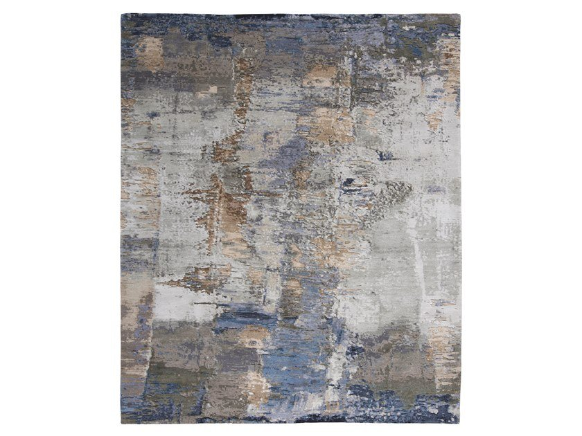 Handmade custom rug ABSTRACT 6 TURQUOISE BEIGE by Thibault Van Renne