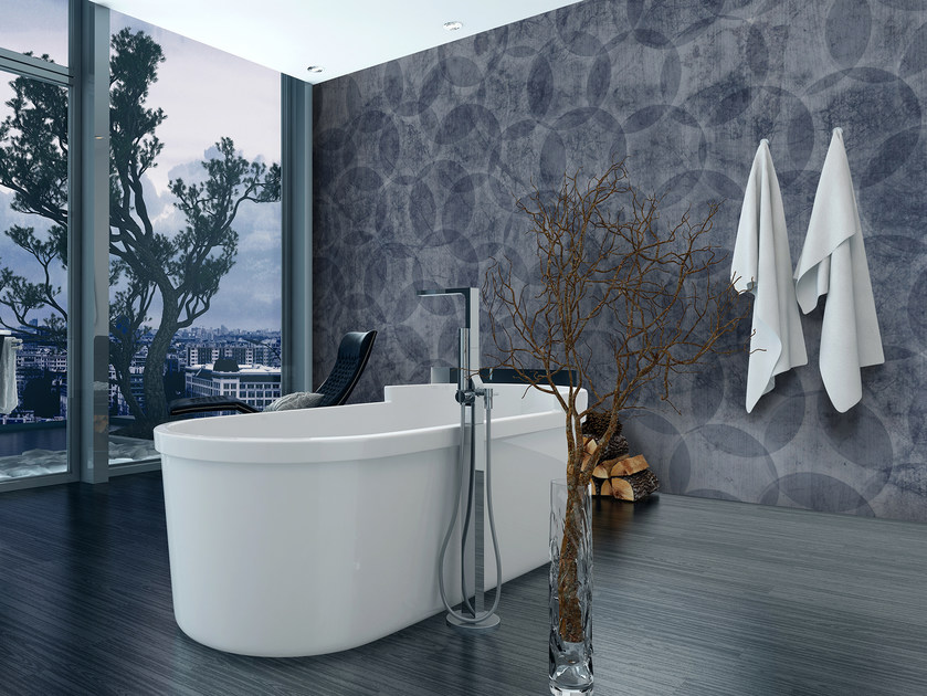 Glass-fibre bathroom wallpaper ABSTRACT BUBBLES by Wall LCA