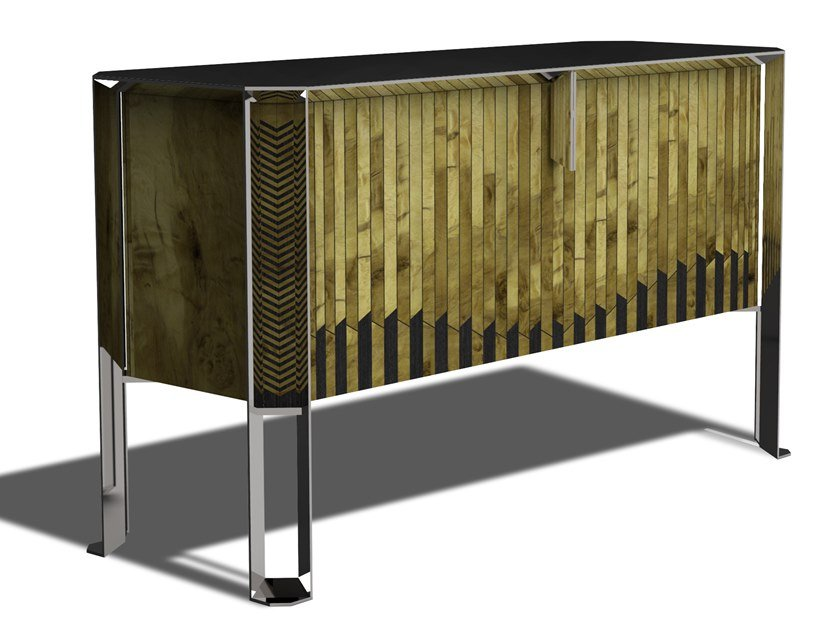 Wooden sideboard AC BOULLE by HEBANON
