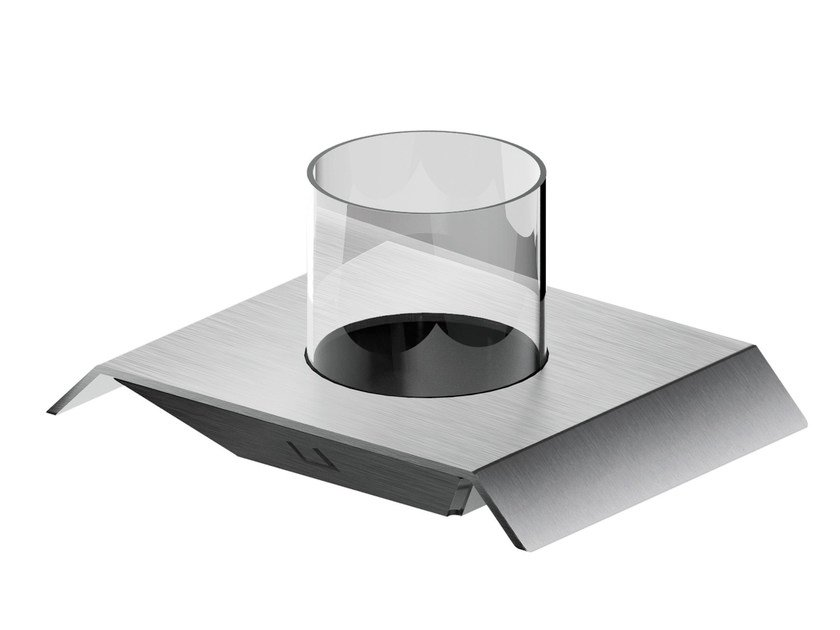 Countertop Glass and Stainless Steel toothbrush holder AC962 | Toothbrush holder by MGS