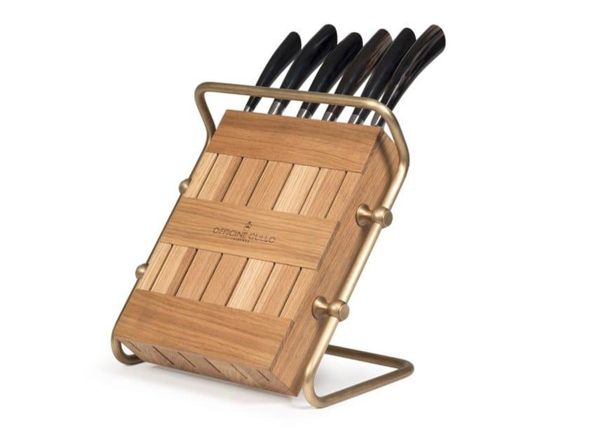 Ceppo coltelli in rovere ACGKHLO010RO | Ceppo coltelli in rovere by Officine Gullo