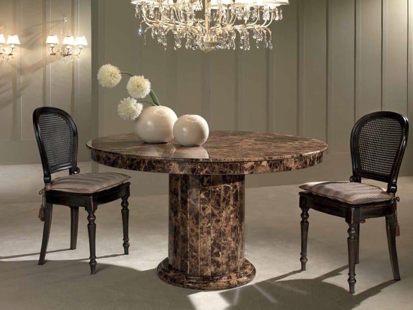 Round Dark Emperador marble table ACHILLE | Dark Emperador marble table by International Marmi