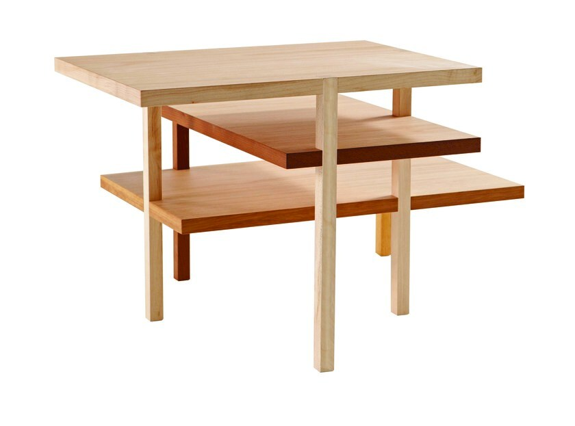 Wooden side table with integrated magazine rack ACHILLE by ROCHE BOBOIS