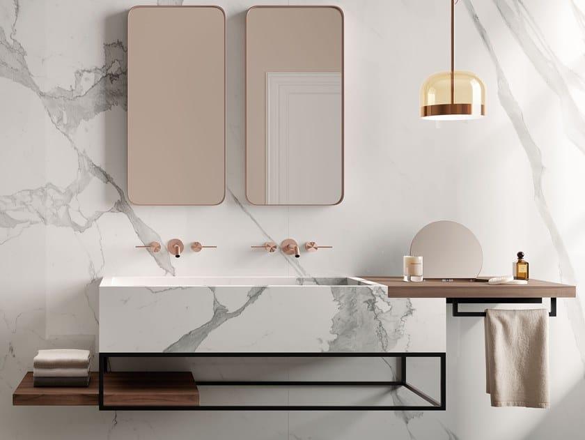 Wall-mounted porcelain stoneware vanity unit ACQUA B by Italgraniti