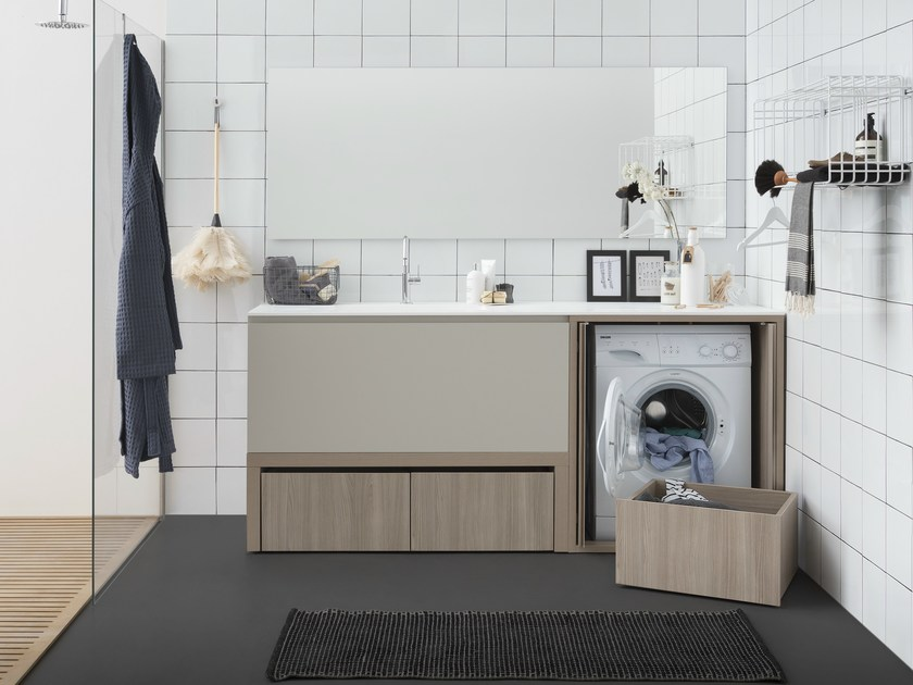 Sectional laundry room cabinet with sink ACQUA E SAPONE BATH | Laundry room cabinet with sink by Birex