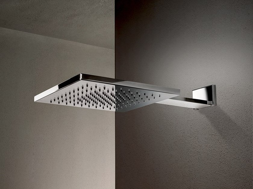 Wall-mounted 2-spray stainless steel overhead shower ACQUAFIT 38 K042B+K031A   Square overhead shower by Fantini Rubinetti