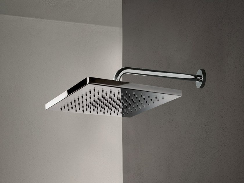 Wall-mounted 2-spray stainless steel overhead shower ACQUAFIT 93 K052+02 8027 | Square overhead shower by Fantini Rubinetti