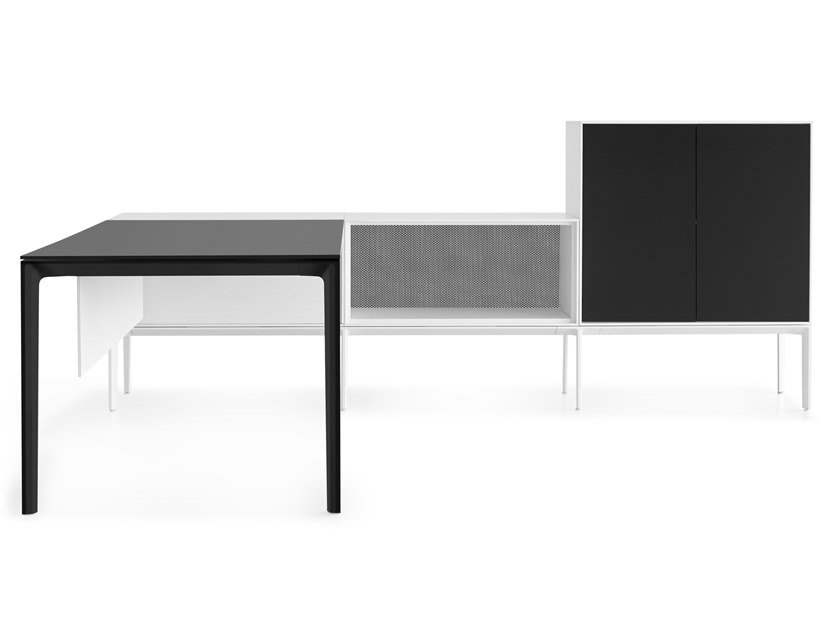 Sectional HPL office desk with shelves ADD SYSTEM by Lapalma