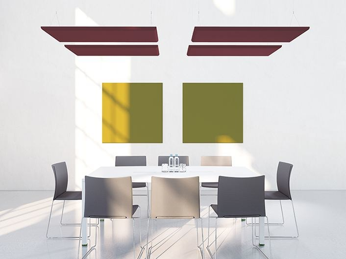 Fabric acoustic ceiling clouds ADDENDA | Fabric hanging acoustical panel by Manade