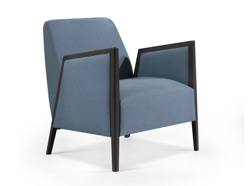 Fabric easy chair with armrests ADEL MASS by Fenabel