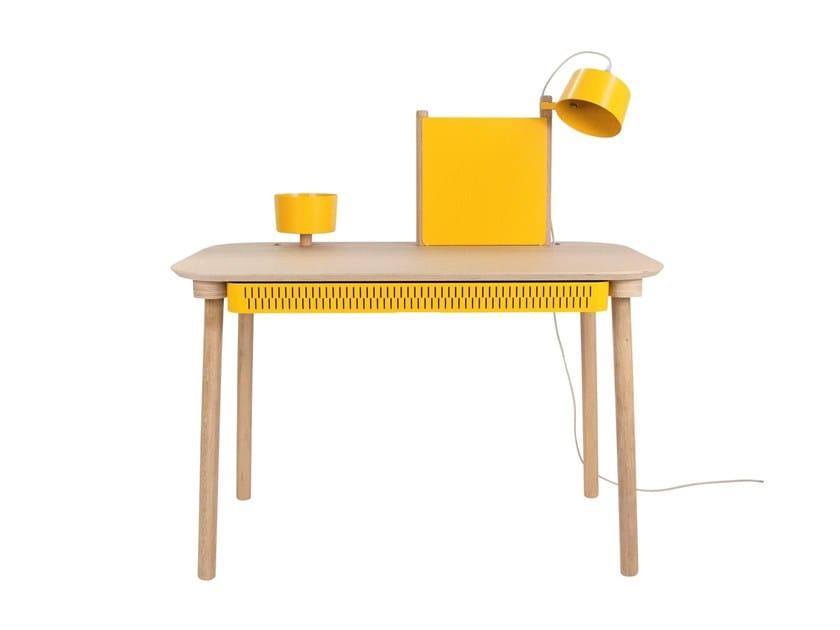 Rectangular wood veneer writing desk with drawers ADÈLE by Dizy
