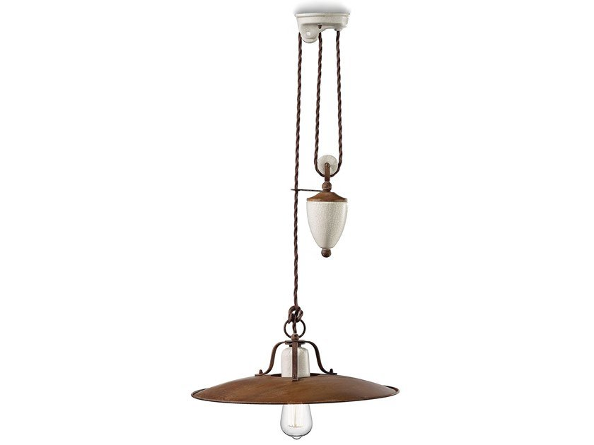 Adjustable metal pendant lamp GRUNGE   Adjustable pendant lamp by FERROLUCE