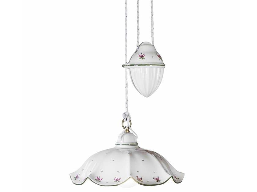 Adjustable ceramic pendant lamp BELLUNO | Adjustable pendant lamp by FERROLUCE