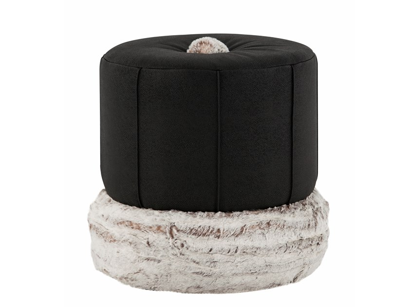 Upholstered round leather pouf ADÓNIS | Leather pouf by Green Apple