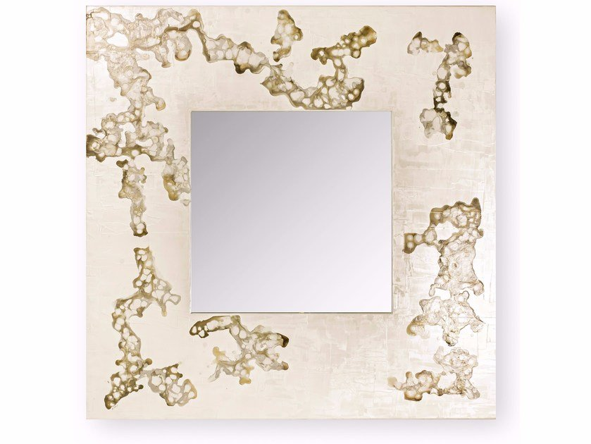 Square wall-mounted framed mirror AFRICA FLOWING | Square mirror by Cantori