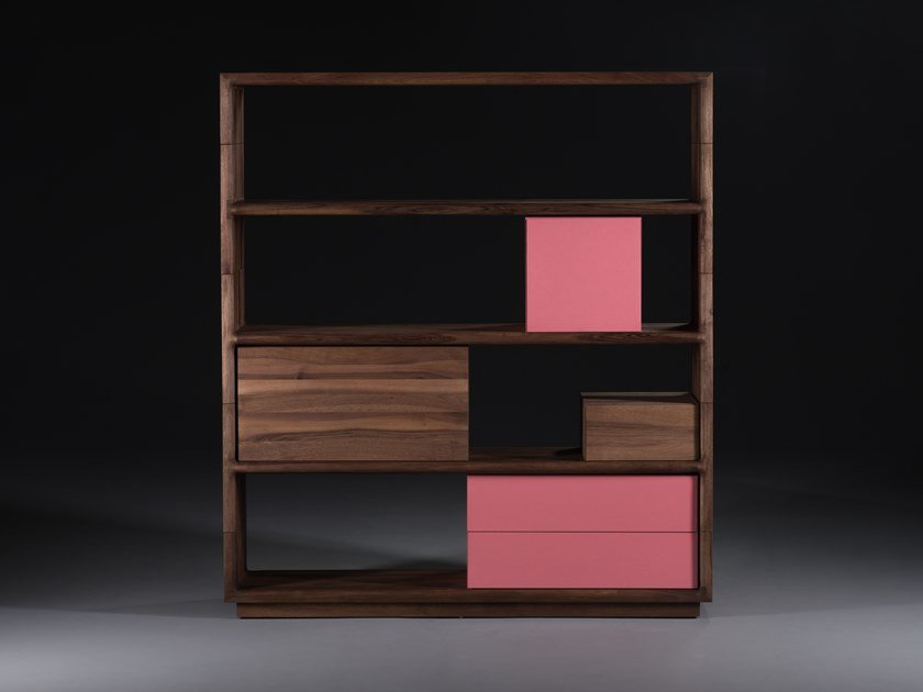 Sectional solid wood bookcase with drawers AGILIS by Artisan