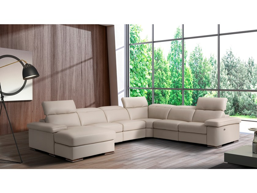 leather sofa with chaise longue AGOS By Max Divani