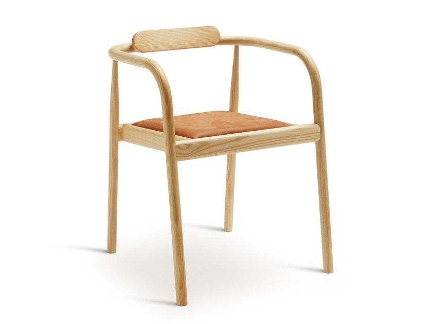 Open back stackable ash chair AHM | Upholstered chair by PLEASE WAIT to be SEATED