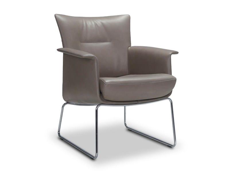 Sled base leather armchair with armrests AIDA | Sled base armchair by JORI