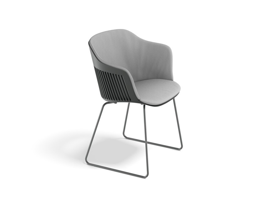 Sled base polypropylene chair with armrests AIIR | Sled base chair by DEDON