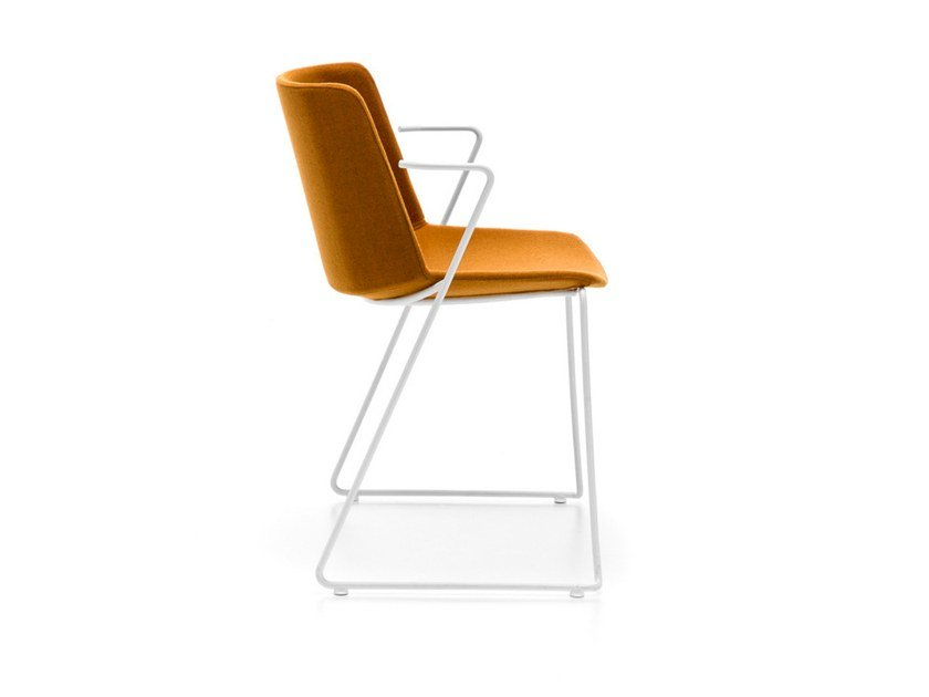 Sled base fabric chair with armrests AÏKU SOFT | Chair with armrests by MDF Italia