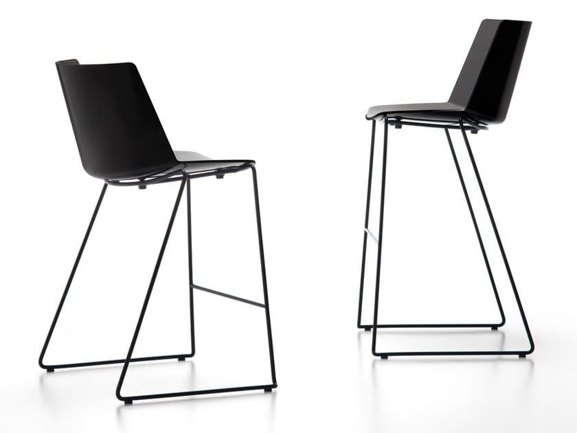 Sled base polypropylene stool with back AÏKU STOOL | Polypropylene stool by MDF Italia