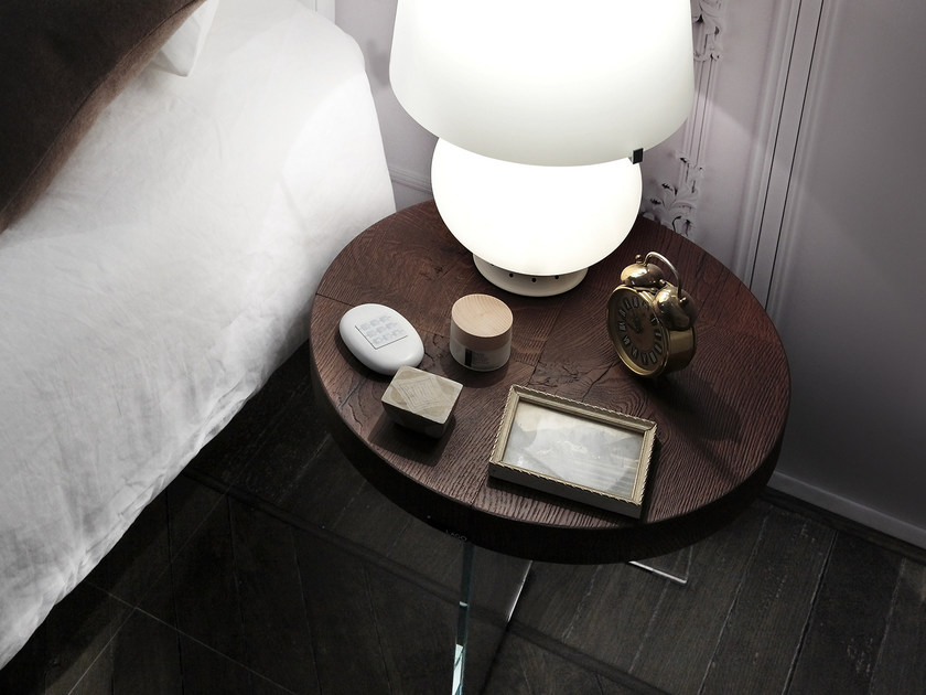 Round wooden bedside table AIR | Bedside table by Lago