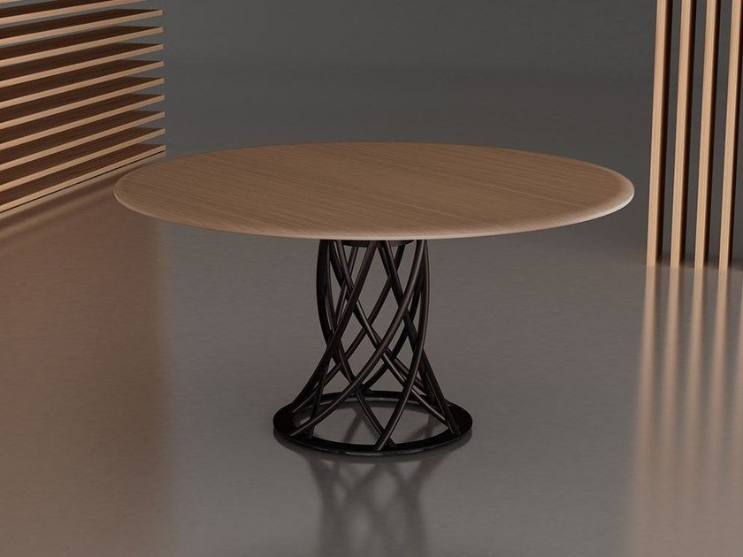 Round steel and wood table AIR | Steel and wood table by F.lli Orsenigo
