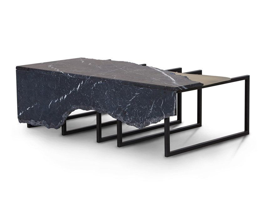 Nero Marquina marble and brass coffee table AIRE G702420 by Greenapple