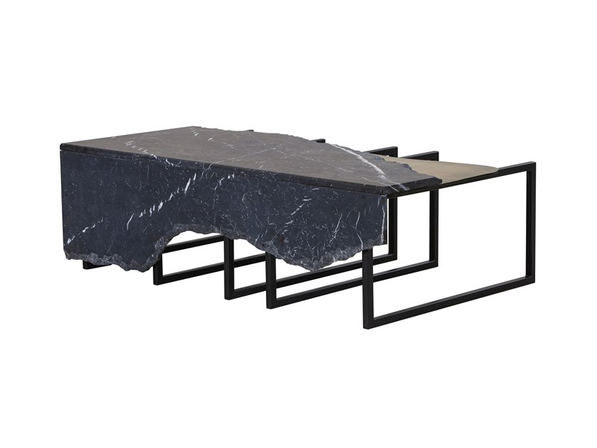 Rectangular marble coffee table AIRE by Green Apple