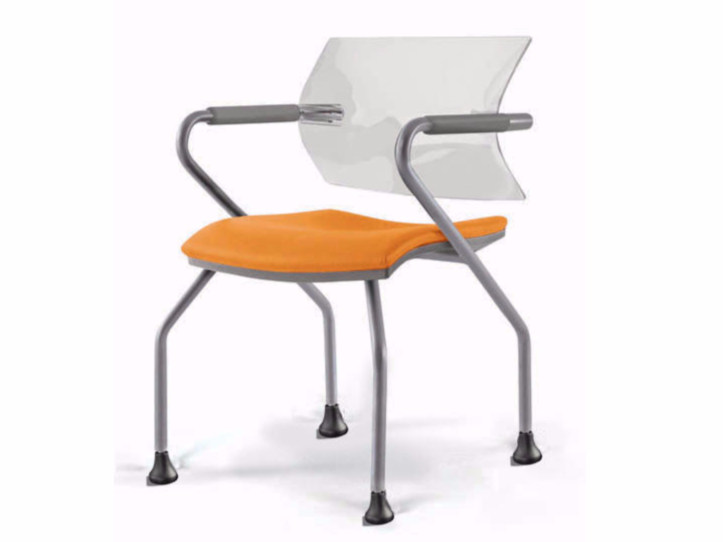 Upholstered reception chair with armrests AIRE JR | Chair by Luxy