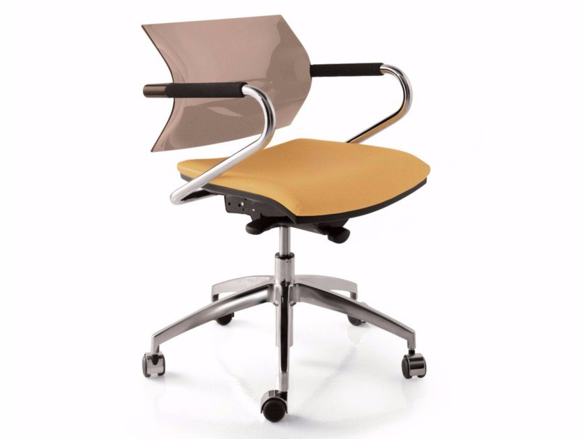 Height-adjustable chair with 5-spoke base with casters AIRE JR | Chair with 5-spoke base by Luxy