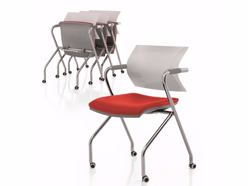 Folding chair with armrests with casters AIRE JR | Folding chair by Luxy