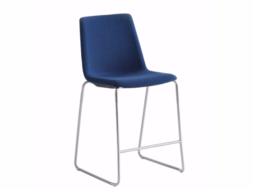 High upholstered sled base fabric stool AKAMI ST 65   Upholstered stool by GABER