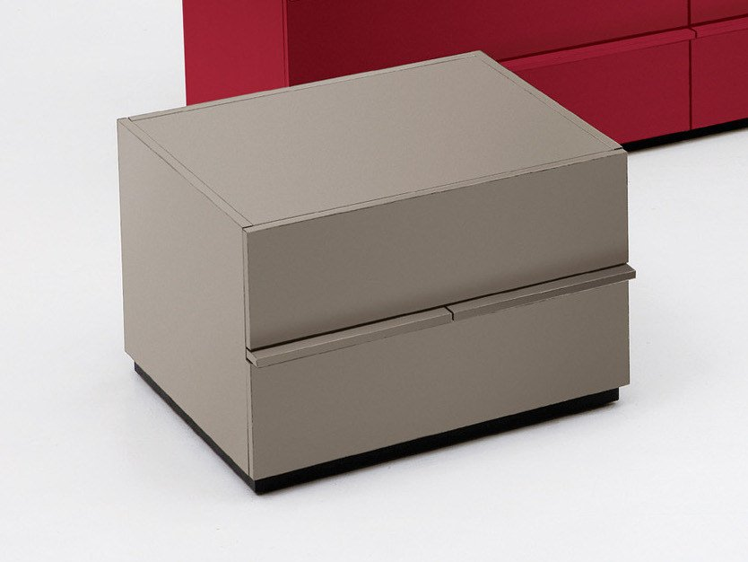 Rectangular bedside table with drawers AKI | 45 cm by EmmeBi