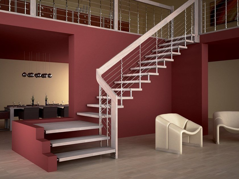 Wooden cantilevered staircase AKURA CHROME | L-shaped Open staircase by MOBIROLO