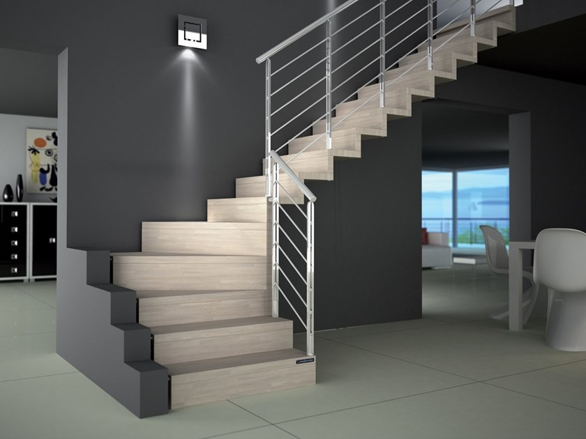 Wooden cantilevered staircase AKURA RX by MOBIROLO