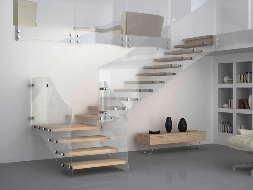 Wood and glass cantilevered staircase AKURA XC-XR by MOBIROLO