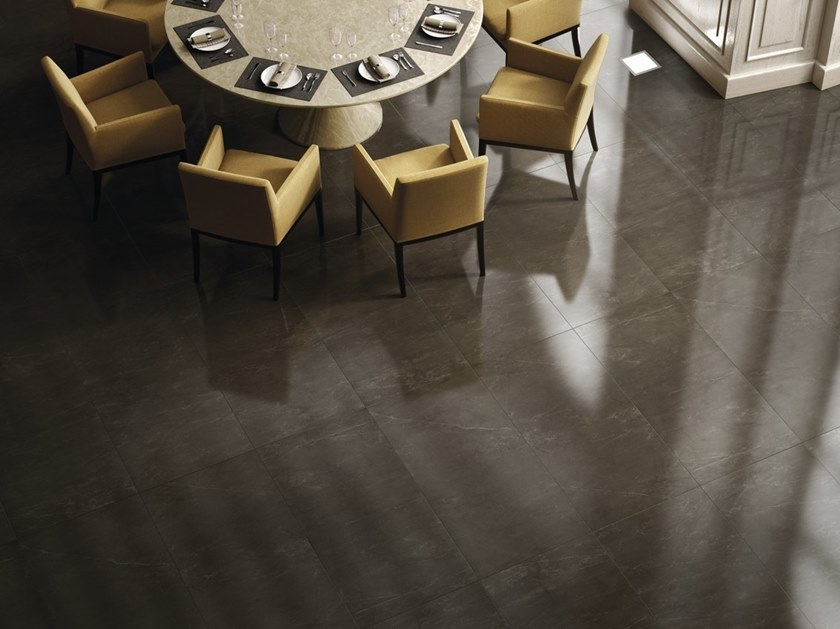 Indoor/outdoor porcelain stoneware wall/floor tiles with marble effect ALANYA BLACK by FMG