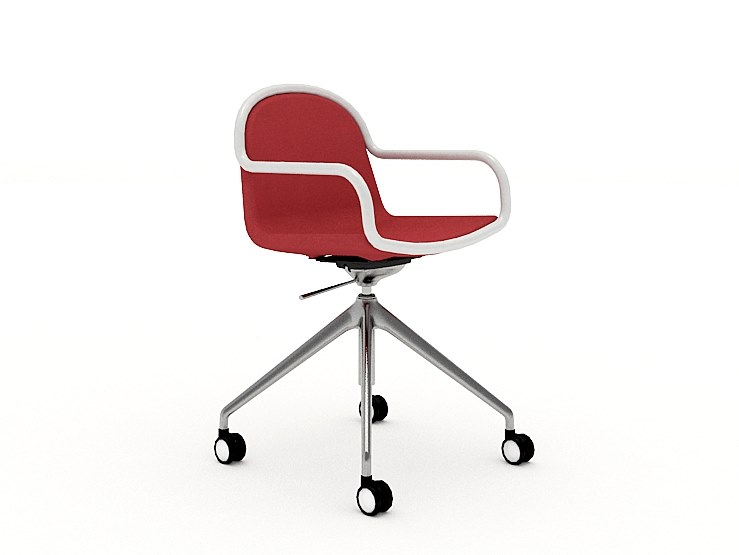 Swivel trestle-based chair with casters ALARA   Chair with casters by Tuna Ofis