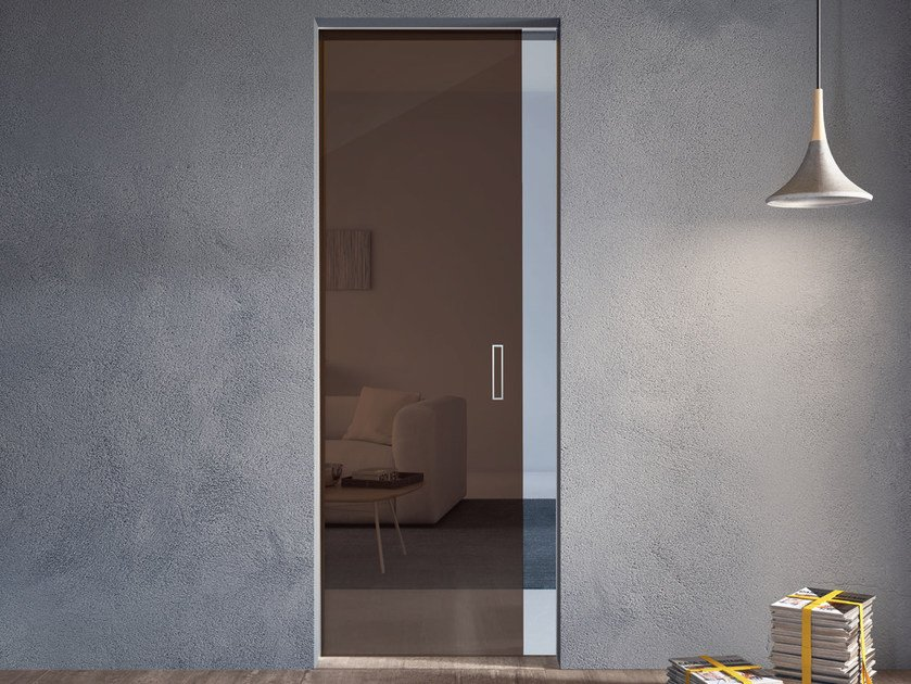Glass pocket sliding door ALASKA WALLDOOR by Bertolotto Porte
