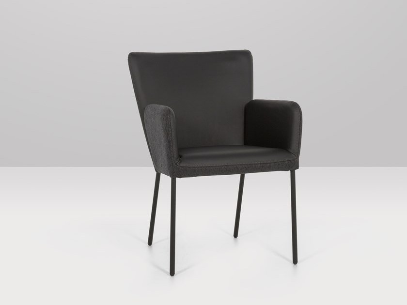 Upholstered leather chair with armrests ALASSIO | Chair with armrests by Recor Home
