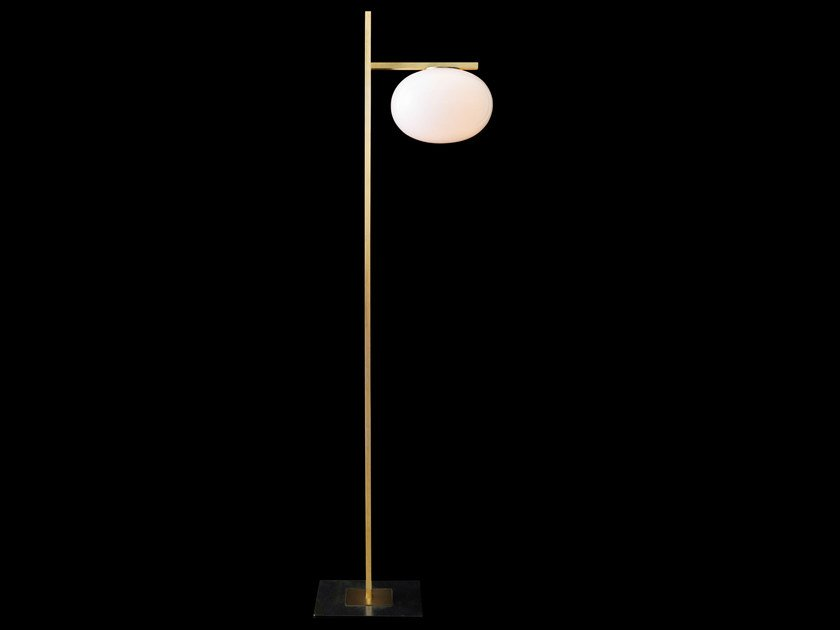 Brass and glass floor lamp alba 382 by oluce