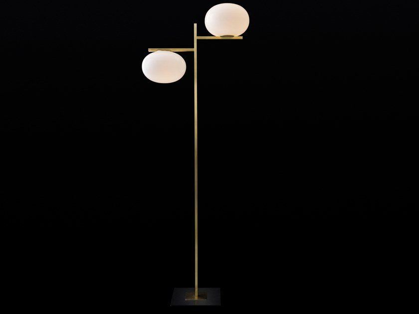 Brass and glass floor lamp ALBA - 383 by Oluce