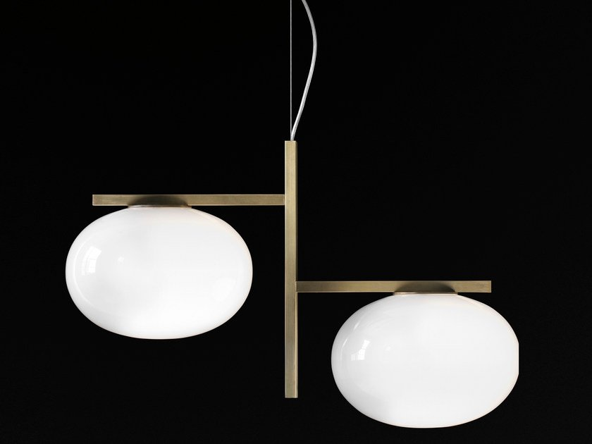 Brass and glass pendant lamp ALBA - 468 by Oluce